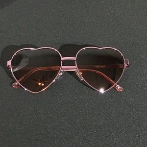 Accessories - Rose Gold Sunglasses - Heart Shaped Metal Frame